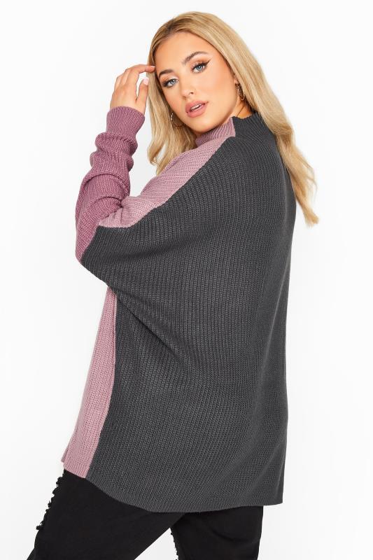 Purple Colour Block Oversized Knitted Jumper_C.jpg