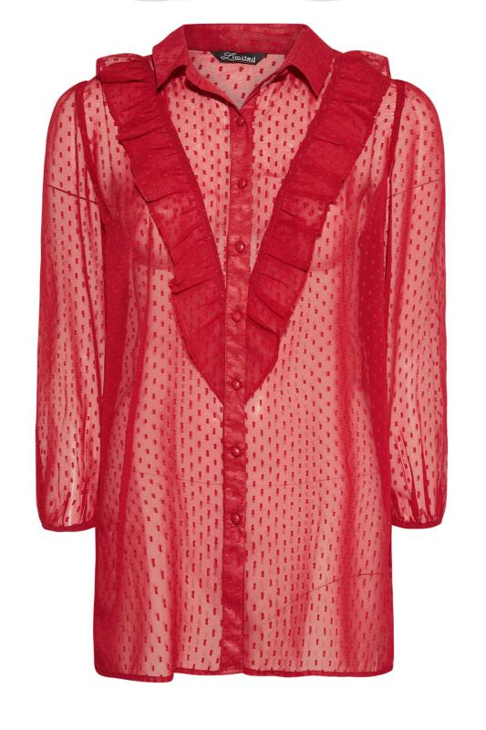 Plus Size  LIMITED COLLECTION Red Dobby Chiffon Shirt
