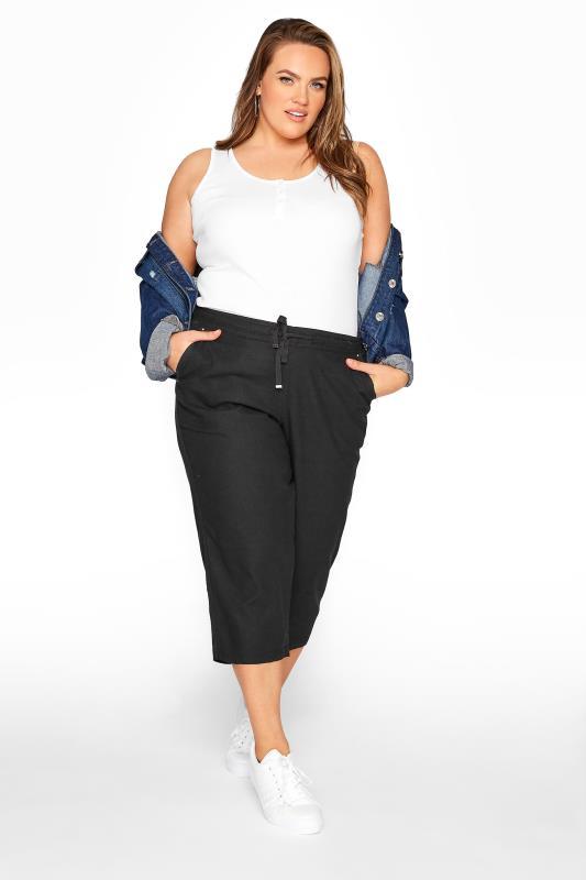 Plus Size  Black Cropped Linen Mix Trousers