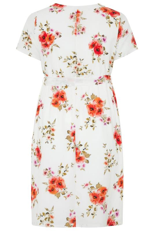 YOURS LONDON Orange Floral Short Sleeve Wrap Dress_BK.jpg
