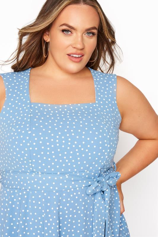 YOURS LONDON Blue Polka Dot Skater Dress_D.jpg