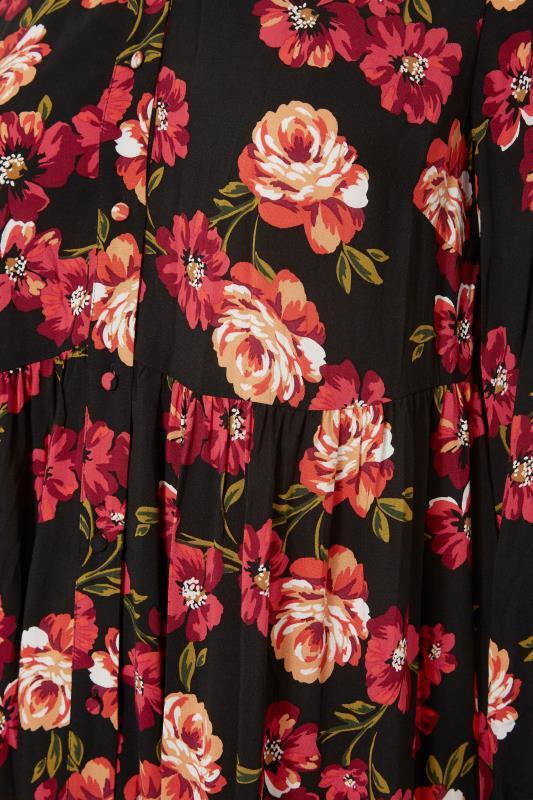 THE LIMITED EDIT Black Floral Smock Tiered Shirt Dress_S.jpg