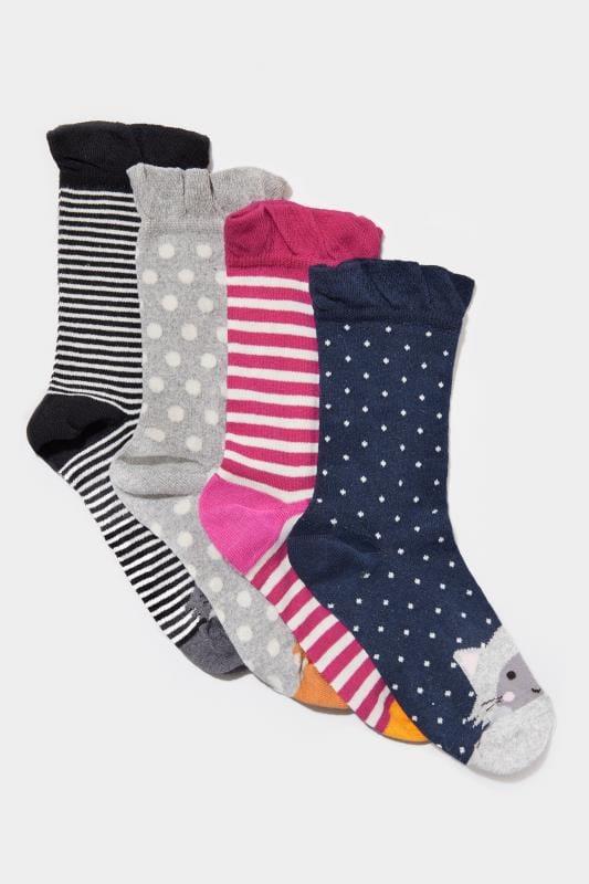 4 PACK Multicoloured Cat Socks