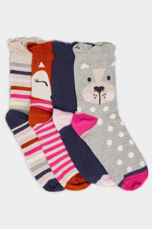 4 PACK Grey, Navy & Pink Cute Animal Socks
