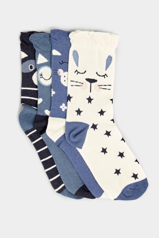 4 PACK Assorted Blue Animal Face Socks
