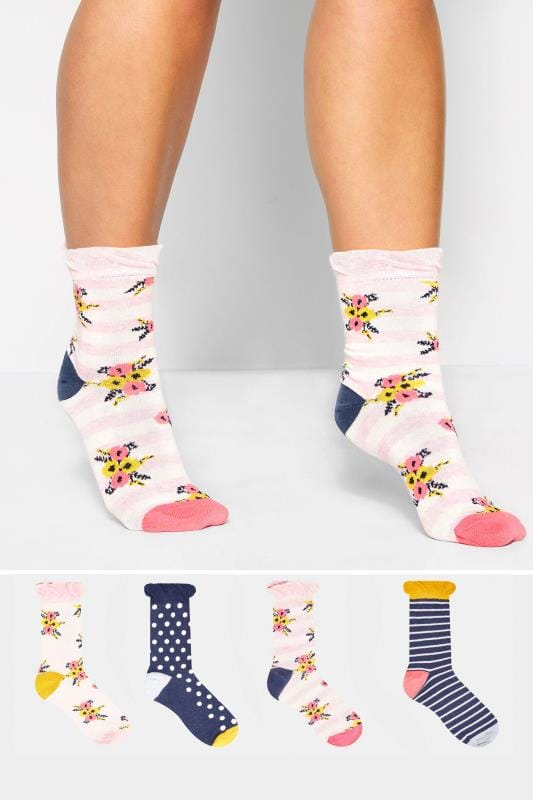 4 PACK Navy & White Floral Striped Socks