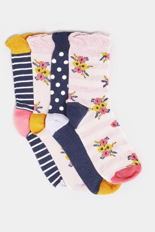 JUEGO 4 pares calcetines flores