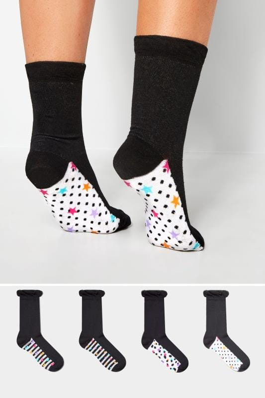 4 PACK Mixed Print Footbed Socks
