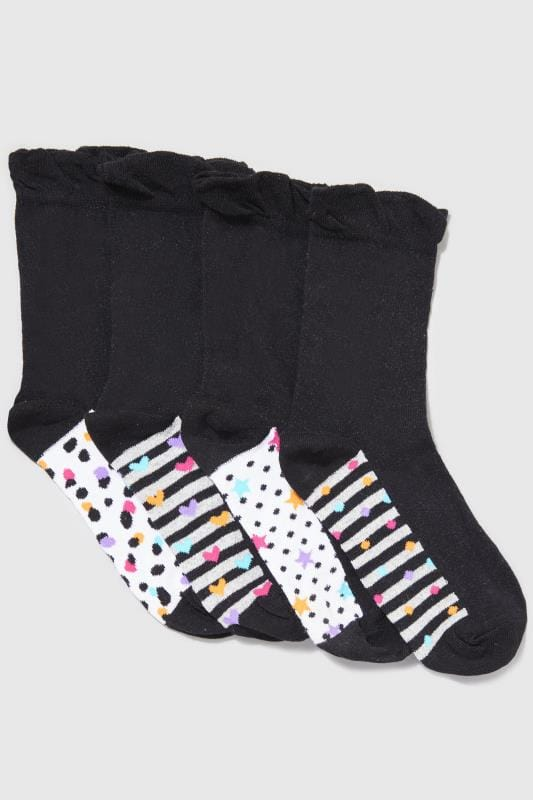4 PACK Mixed Print Footbed Socks