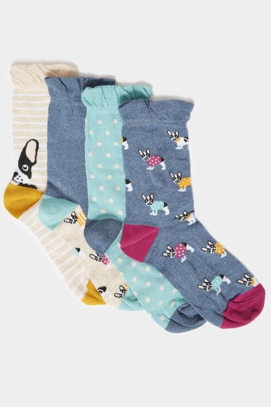 4 PACK Blue Assorted Dog Socks