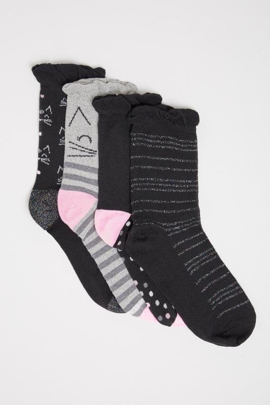 4 PACK Black Glitter Cat Socks