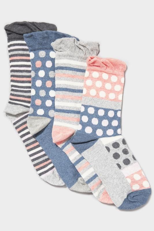 4 PACK Blue Marl Spot & Stripe Socks