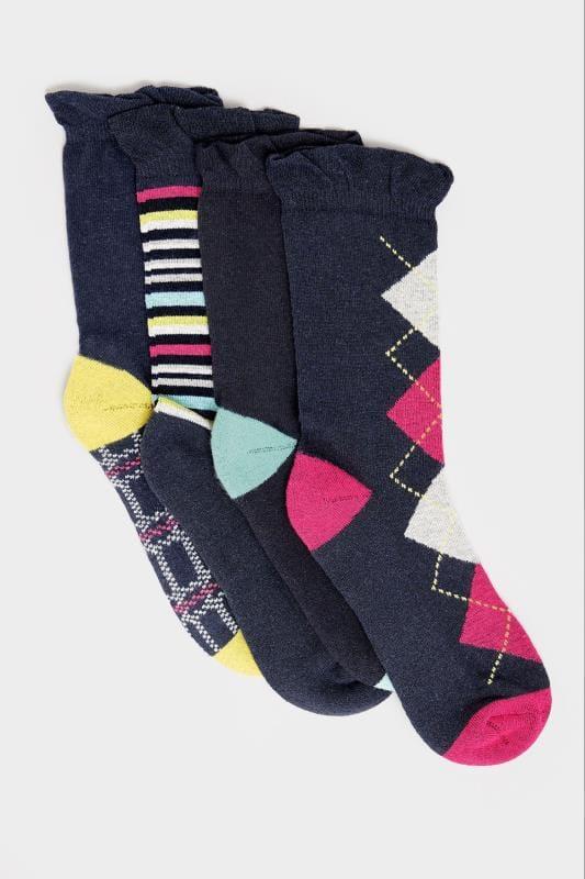 4 PACK Navy Comfort Sole Socks
