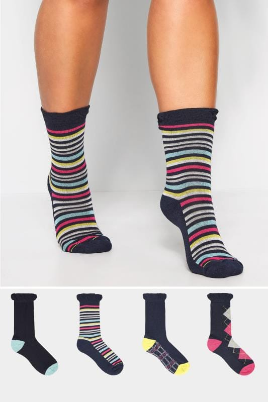 Plus Size Socks 4 PACK Navy Comfort Sole Socks