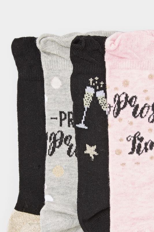 4 PACK Assorted Prosecco Print Socks