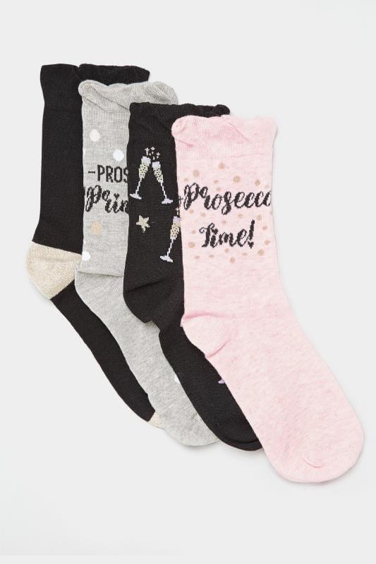 4er Pack Socken mit Prosecco-Motiven - Schwarz/Grau/Pink
