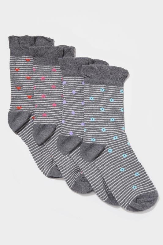 4 PACK Stripe Motif Socks