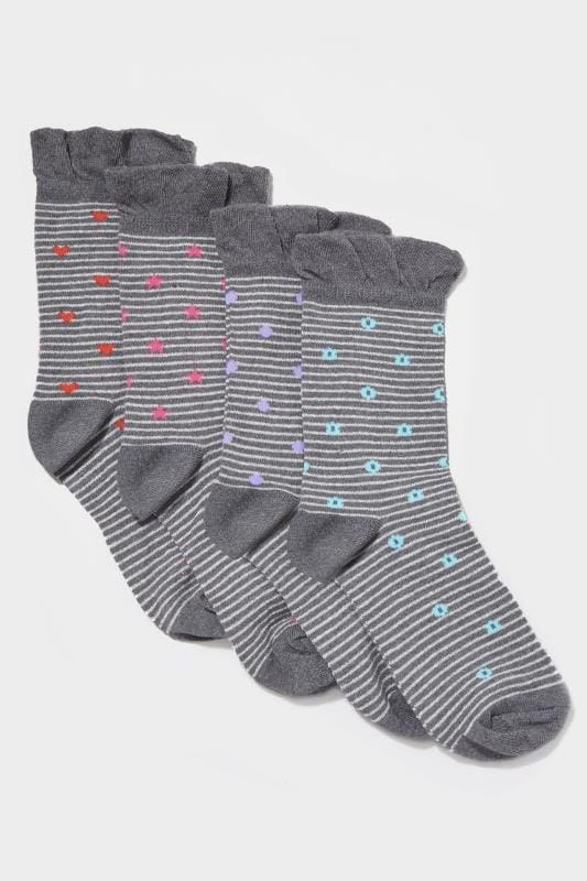 4 PACK Stripe Motif Socks
