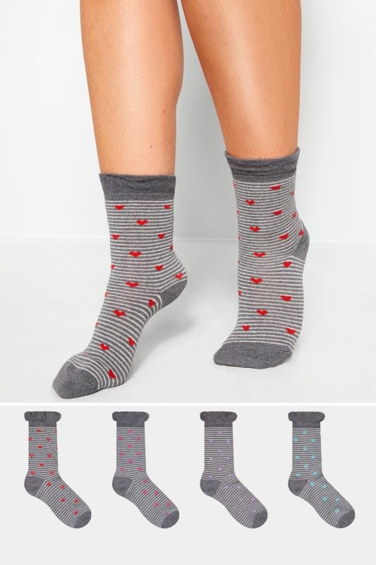 Plus Size Socks 4 PACK Stripe Motif Socks