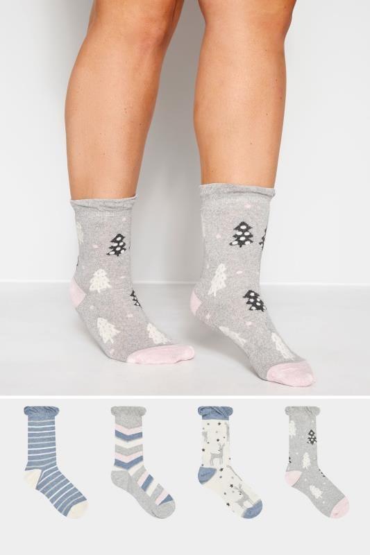 Plus Size Socks 4 PACK Assorted Novelty Print Socks