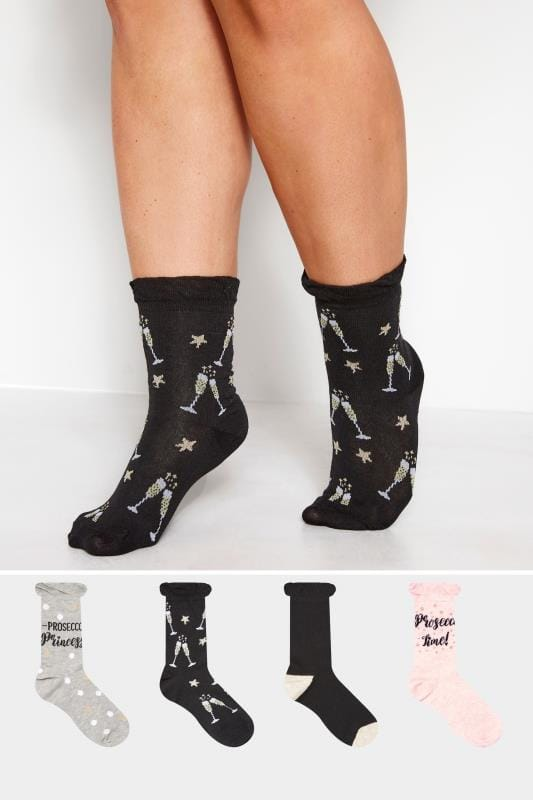 Plus Size Socks 4 PACK Assorted Prosecco Print Socks