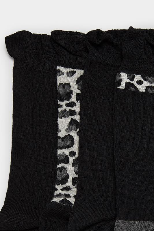 4 PACK Black Animal Print Socks