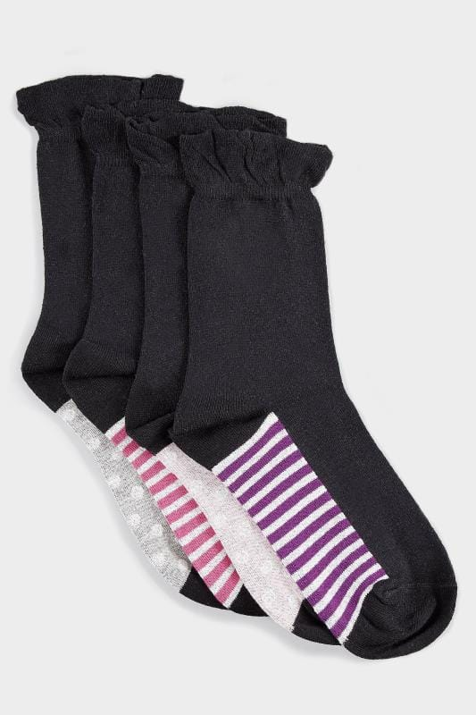 4 PACK Black Assorted Spot & Striped Ankle Socks