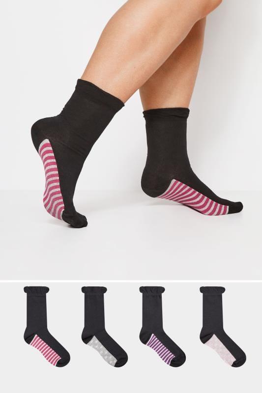 Plus-Größen Socken 4er Pack Schwarze Socken mit Streifen & Punkten