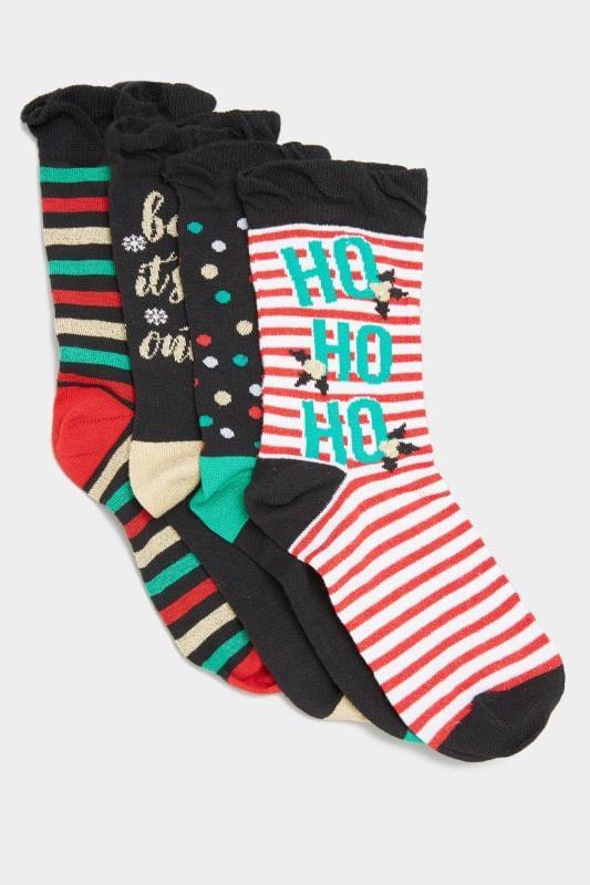 4 PACK Black 'Ho Ho Ho' Novelty Print Socks