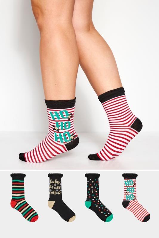 "4er Pack Socken mit ""Ho Ho Ho""-Druck - Schwarz"