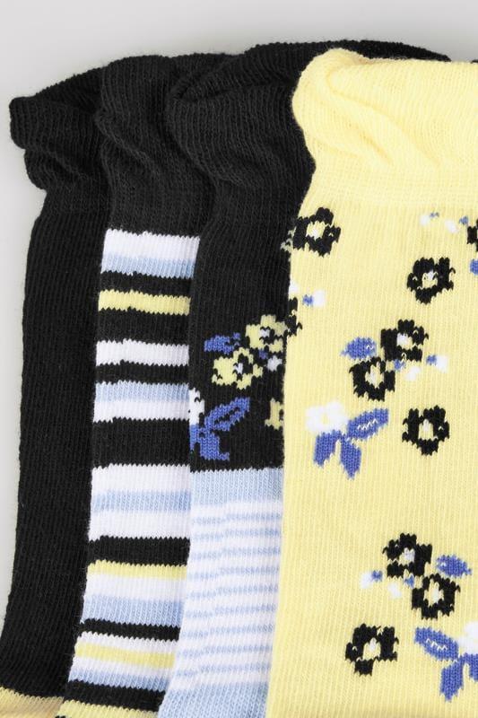 4 PACK Black & Multi Stripe & Floral Socks