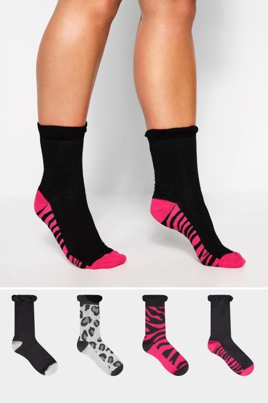 4 PACK Black & Pink Animal Print Socks