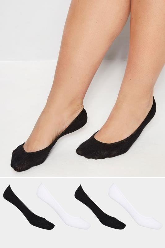 Plus Size Socks 4 PACK Black & White Footsie Socks