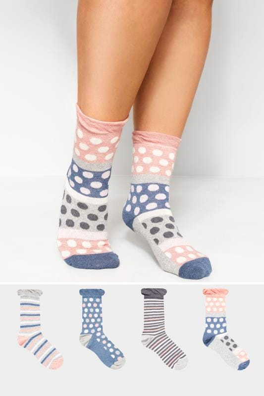 Plus Size Socks 4 PACK Blue Marl Spot & Stripe Socks