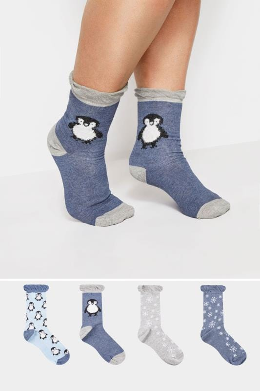 4 PACK Blue Penguin Socks