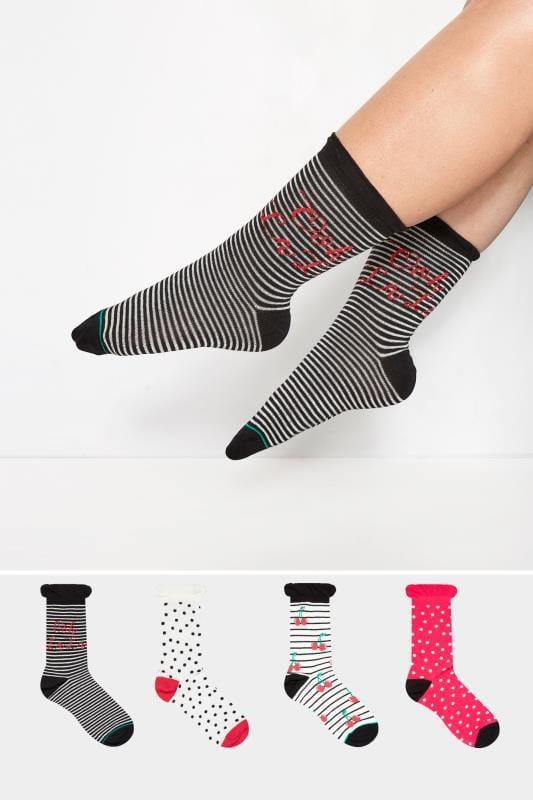 JUEGO 4 pares calcetines cerezas