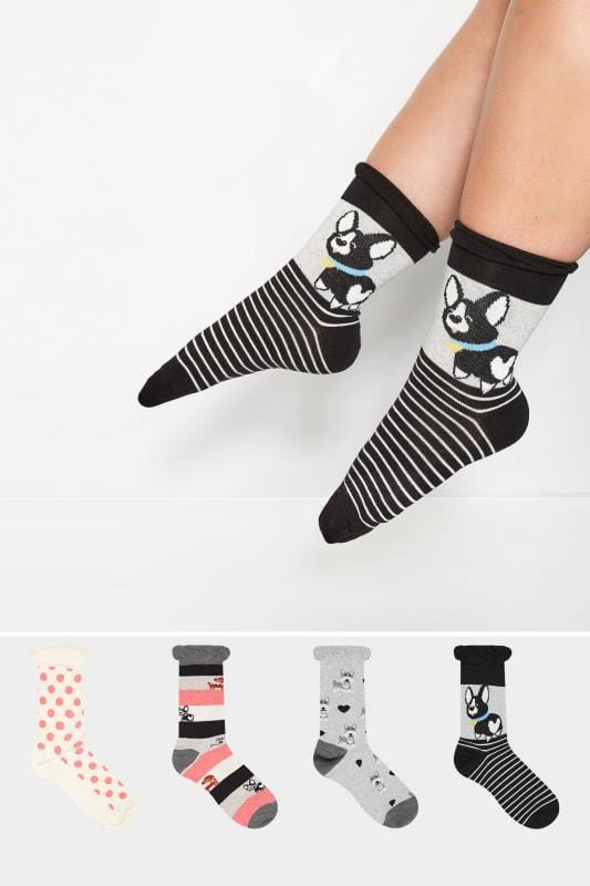 Plus Size Socks 4 PACK Dog Ankle Socks