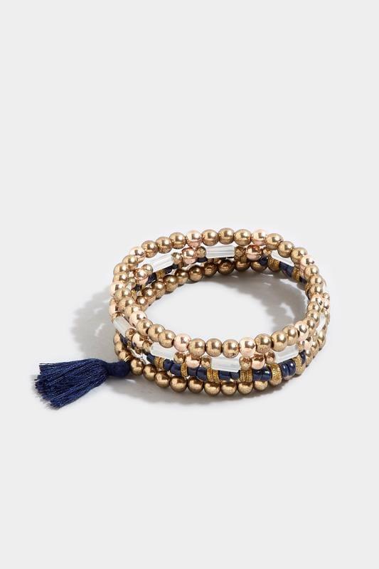 4 PACK Gold & Navy Stretch Tassel Bracelets