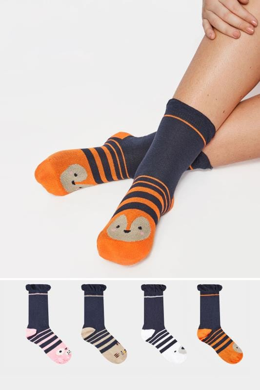 Plus Size Socks 4 PACK Navy Assorted Animal Socks
