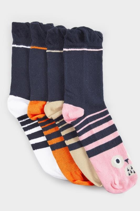 4 PACK Navy Assorted Animal Socks