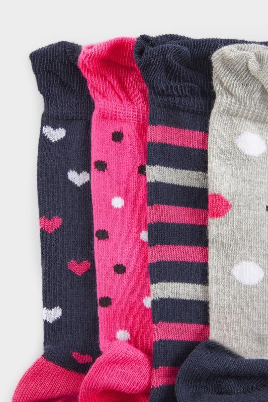 4 PACK Navy Heart Ankle Socks