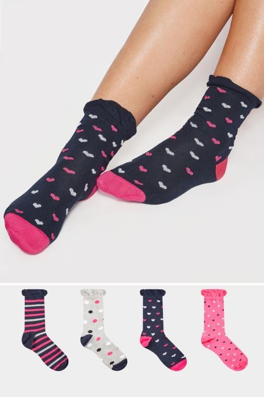 JUEGO 4 pares calcetines azules corazón