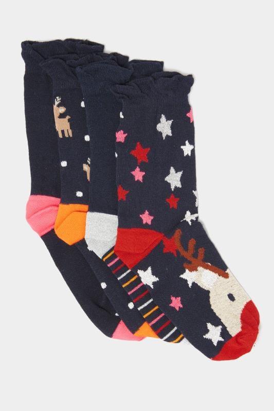 4er Pack Socken mit Weihnachts-Motiven - Dunkelblau