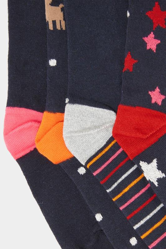 4 PACK Navy Novelty Reindeer Christmas Socks
