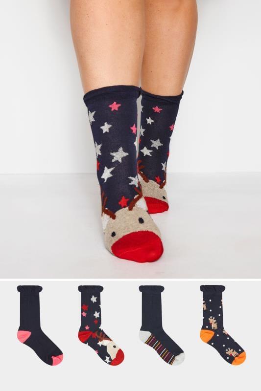 Plus Size Socks 4 PACK Navy Novelty Reindeer Christmas Socks