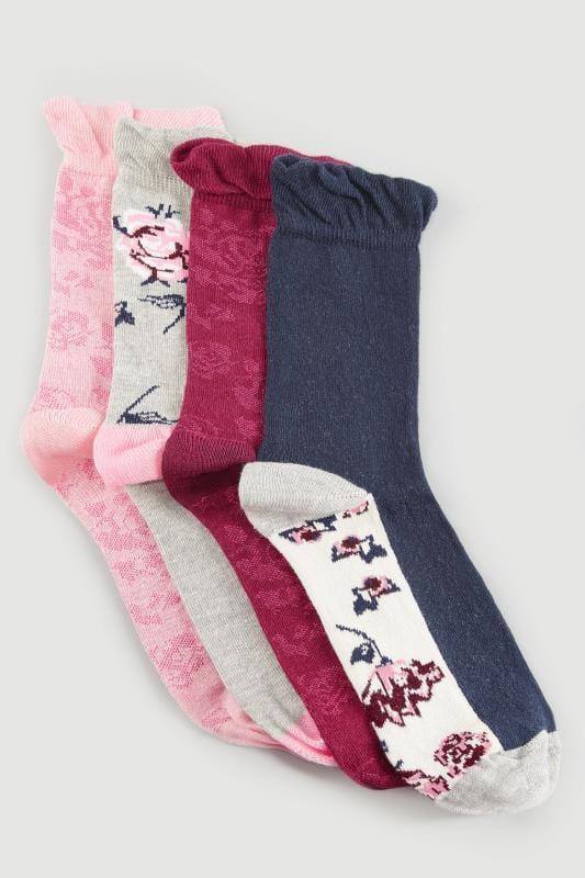 4 PACK Pink Assorted Floral Ankle Socks