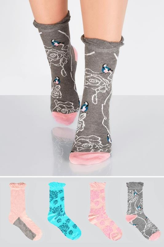 4 PACK Pink, Blue & Grey Floral Bird Socks