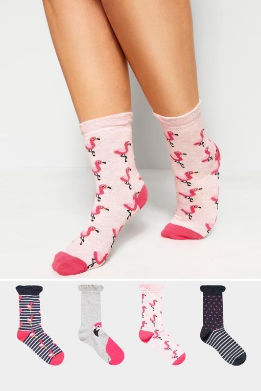 4 PACK Pink Flamingo Socks