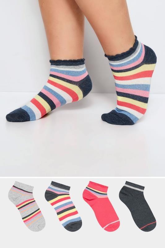 Plus Size Socks dla puszystych 4 PACK Rainbow Trainer Socks