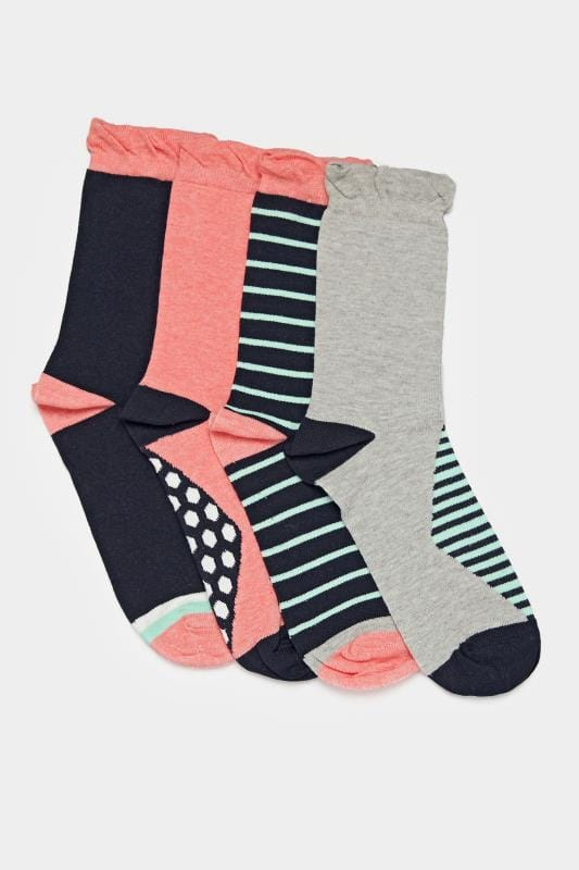 4 PACK Stripe Ankle Socks